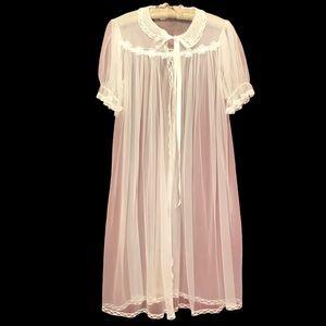 Vintage 60s Lace Satin Trim Sheer Dressing Robe